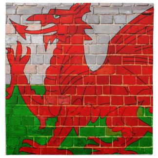 Wales flag on a brick wall napkin