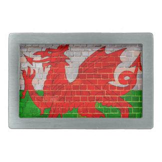 Wales flag on a brick wall rectangular belt buckles