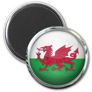 Wales Flag Round Glass Ball 6 Cm Round Magnet