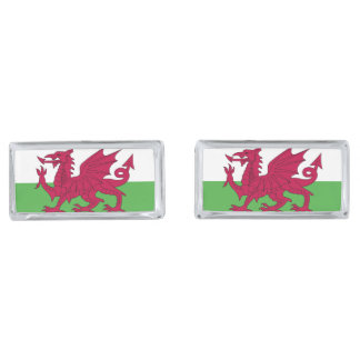 Wales Flag Silver Finish Cuff Links