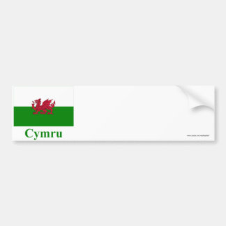 Wales Flag with Name in Welsh Car Bumper Sticker