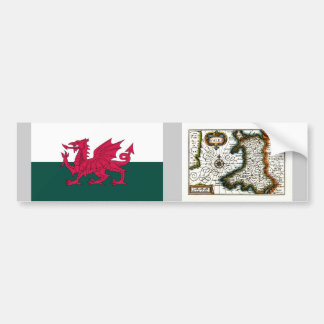 Wales Map and or Flag Bumper Stickers