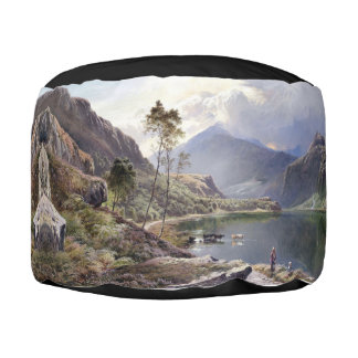 Wales UK Lake Mountains Shepherd Pouf Ottoman
