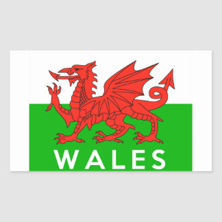 wales united kingdom country flag text name welsh rectangular sticker