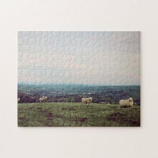 Wales Vintage View Landscape Sheep Welsh Horizon Jigsaw Puzzle