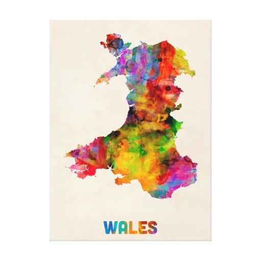 Wales Watercolor Map Canvas Prints