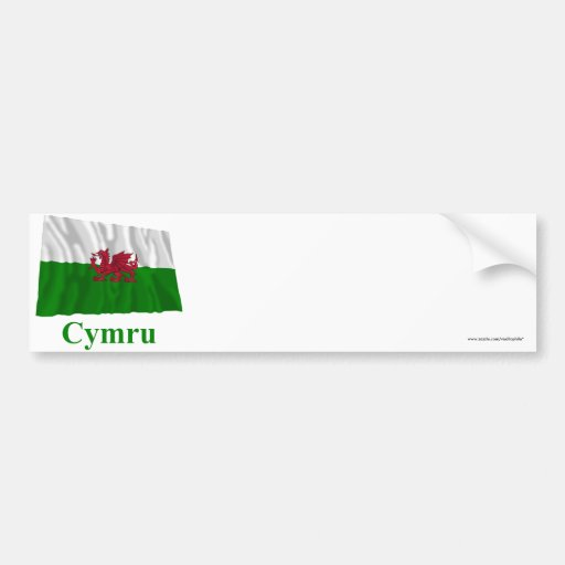 Wales Waving Flag with Name in Welsh Bumper Stickers
