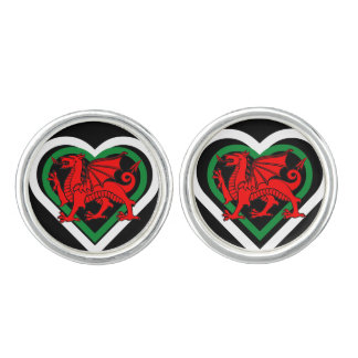 Wales Welsh Dragon Flag-inspired Heart Cuff Links