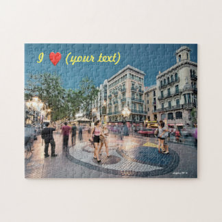 Walk and kiss in the Boulevard, Barcelona, Spain Jigsaw Puzzle