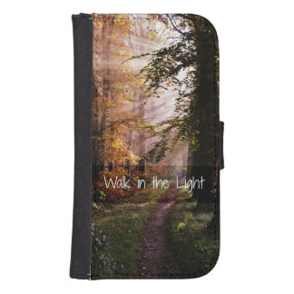 Walk in the Light Bible Verse Samsung S4 Wallet Case