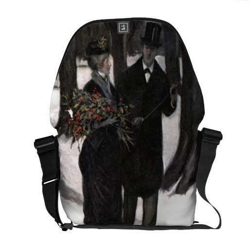 Walk in The Snow With Holly Courier Bag