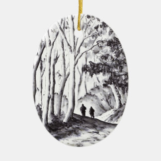walk in the woods ink wash landscape drawing ceramic ornament