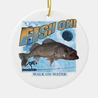 Walk on water walleye ceramic ornament