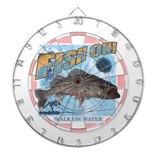 Walk on water walleye dartboard with darts
