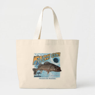 Walk on water walleye large tote bag