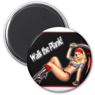 Walk the Plank - Pirate Girl 6 Cm Round Magnet