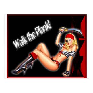 Walk the Plank - Pirate Girl Postcard
