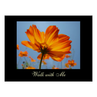 Walk with Me art prints Orange Daisy Flowers Posters