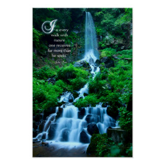 Walk with Nature Beautiful Waterfall Green Nature Poster