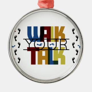 Walk Your Talk #1 Silver-Colored Round Decoration