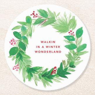 Walkin in a Winter Wonderland Watercolor Wreath Round Paper Coaster