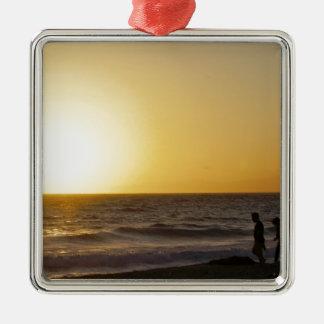 Walking at Sunset Metal Ornament