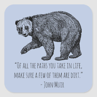 Walking bear Sticker with John Muir Quote