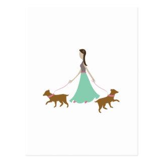 Walking Dogs Postcard