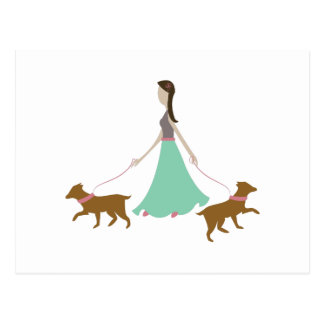 Walking Dogs Post Card