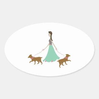 Walking Dogs Oval Stickers
