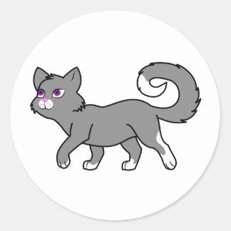 Walking Gray Cat Round Sticker