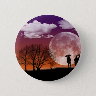 Walking in front of the moon Digital Art 6 Cm Round Badge