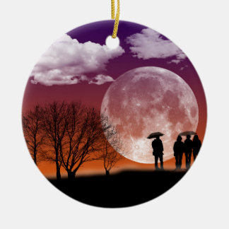 Walking in front of the moon Digital Art Ceramic Ornament