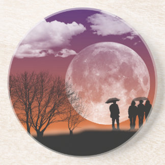 Walking in front of the moon Digital Art Coaster