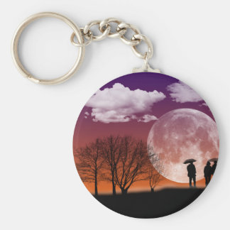 Walking in front of the moon Digital Art Key Ring