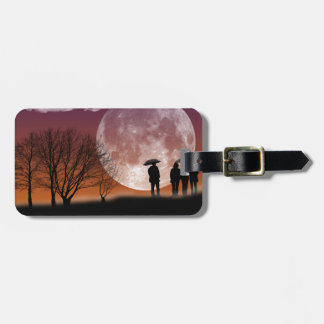 Walking in front of the moon Digital Art Luggage Tag