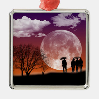 Walking in front of the moon Digital Art Metal Ornament