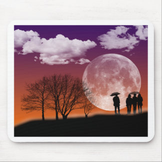 Walking in front of the moon Digital Art Mouse Pad