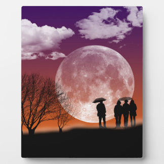 Walking in front of the moon Digital Art Plaque