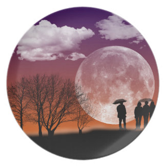 Walking in front of the moon Digital Art Plate