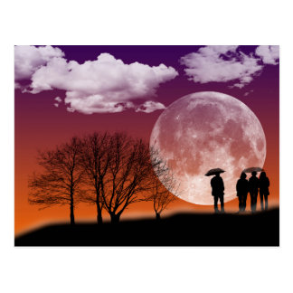 Walking in front of the moon Digital Art Postcard