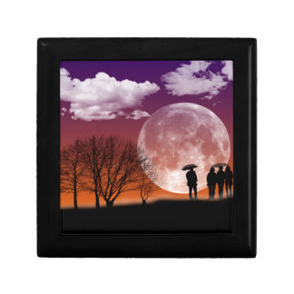 Walking in front of the moon Digital Art Small Square Gift Box