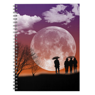 Walking in front of the moon Digital Art Spiral Notebook