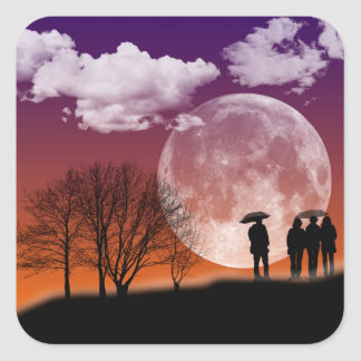 Walking in front of the moon Digital Art Square Sticker