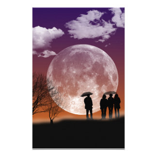 Walking in front of the moon Digital Art Stationery