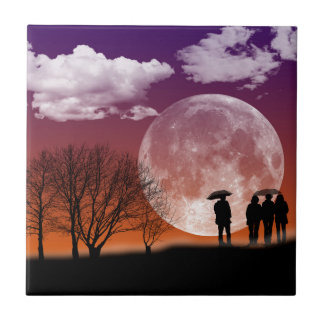 Walking in front of the moon Digital Art Tile