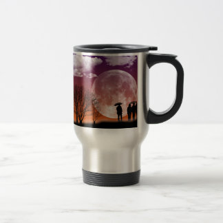Walking in front of the moon Digital Art Travel Mug