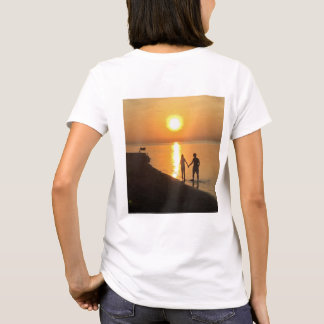 Walking in the beach at sunrise T-Shirt