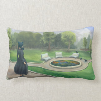 Walking in the Garden Fantasy Art Lumbar Pillow