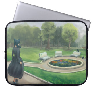 Walking in the Garden - Green Park With Flowers Laptop Sleeve